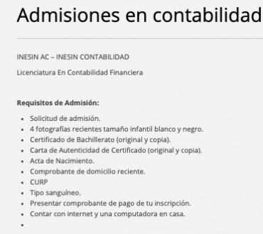 ADMISIÓN EN CONTABILIDAD FINANCIERA